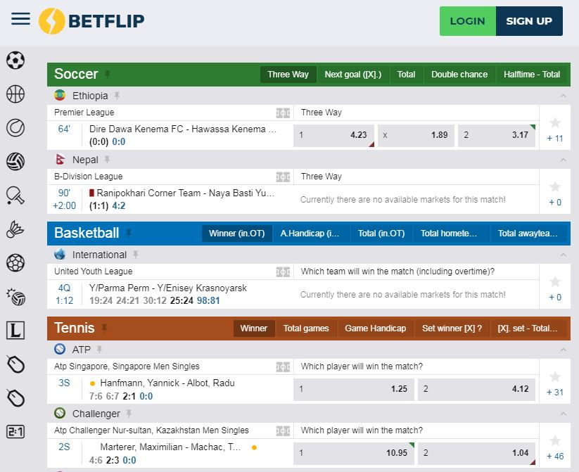 betflip live betting odds