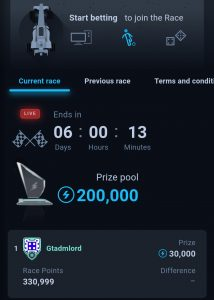 thunderpick start betting and join race